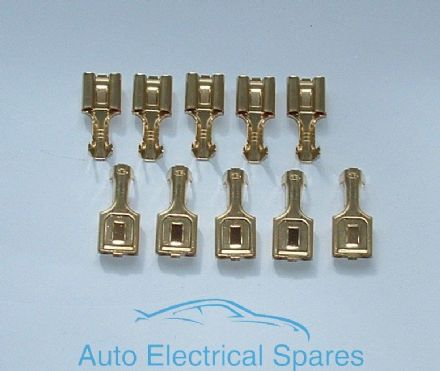 SPADE TERMINAL 8mm female non insulated BRASS straight x 10